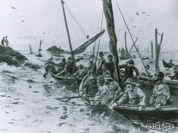 Vårsildfiske ved Espevær i 1850-åra