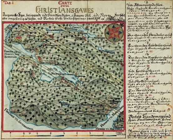 Kart over Christiansgaves Bergverk med omgivelser.