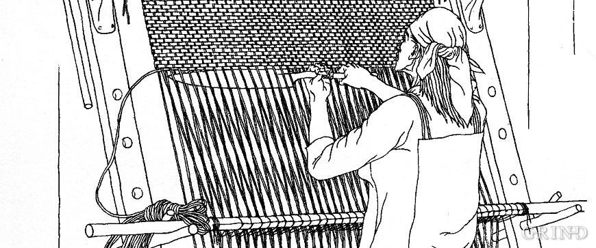 Rekonstruksjonsteikning av ei vikingtidskvinne ståande ved veven sin