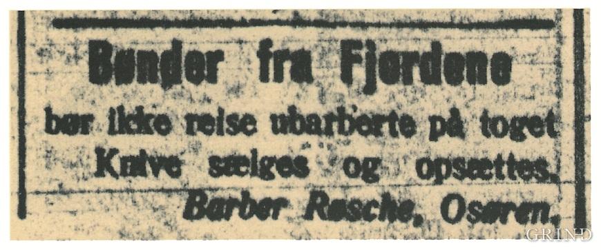Annonse frå Midthordlands avis