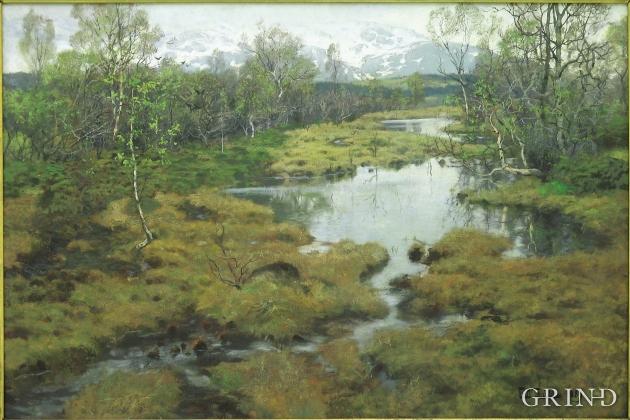 Frits Thaulows portrettering av en typisk vestlandsvåtmark (motiv fra Stord, 1889)