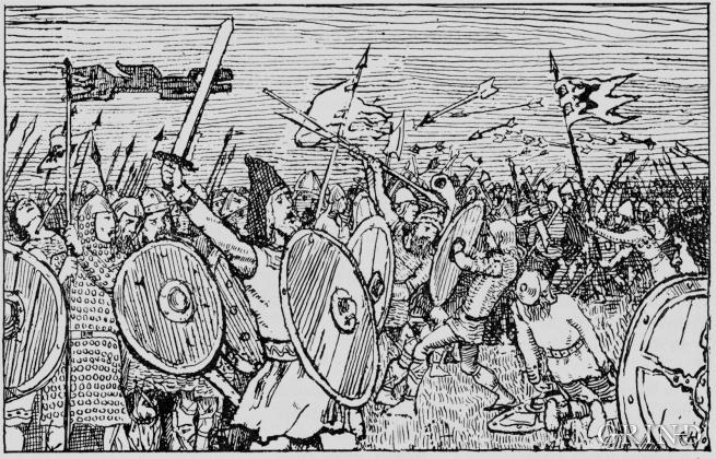 Slaget på Fitjar, teikna av Erik Werenskiold