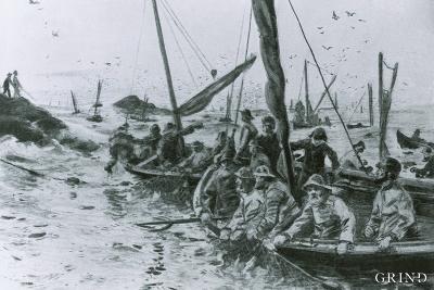 Spring herring fishery at Espevær in the 1850s