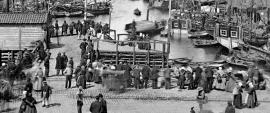 """""""The triangle"""" at the Fish Market in Bergen about 1865"""