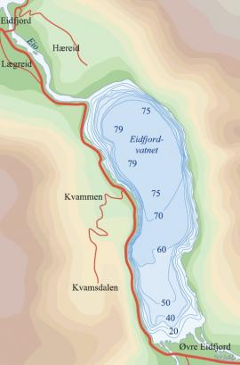 Dybdekart over Eidfjordvatnet.