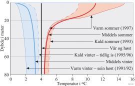 Temperaturkurver om ettervinteren og seinsommeren fra Reinsnosvatnet i Odda kommune