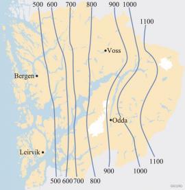 Høyden på skoggrensa i Hordaland