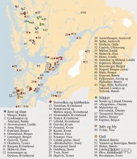 Kart over gruver, skjerp og registrerte forekomster i Hordaland.