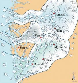 Kartet syner rørslene til isbreane i den siste istida