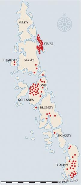 Kart over buplassar i Øygarden