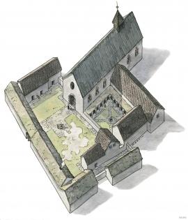 Rekonstruksjonsskisse av Halsnøy kloster