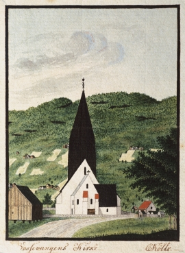 Vangskyrkja frå 1200-talet. Akvarell av Catharine Kølle