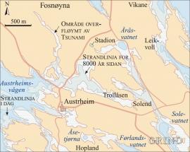 Kart med strandlinja for 8000 år sidan og områda som vart overfløymde av flodbølgja