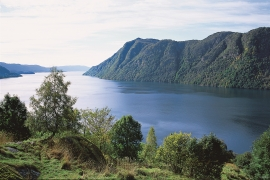 Maters Fjord with Holmedalsberget in the background.