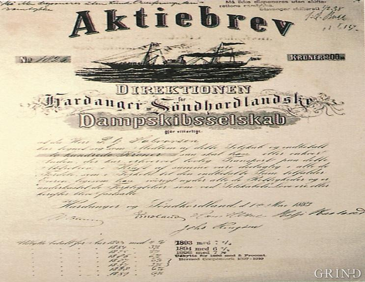 Aksjebrev frå 1883