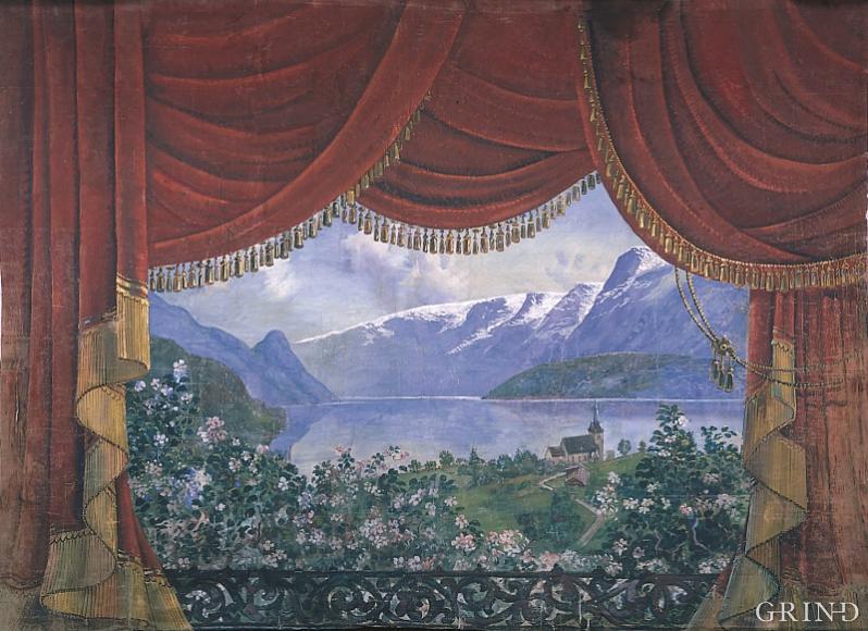 Sceneteppe frå ungdomshuset «Krossvoll» i Lofthus måla av Rudolf Vig kring 1920