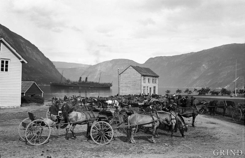 Turistskip ankra opp i vika utanfor Eidfjord