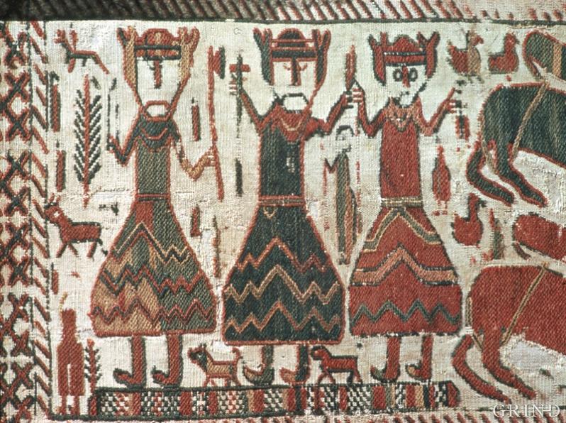 Odin, Tor og Frøy framstilte på eit svensk biletteppe frå 1100-talet