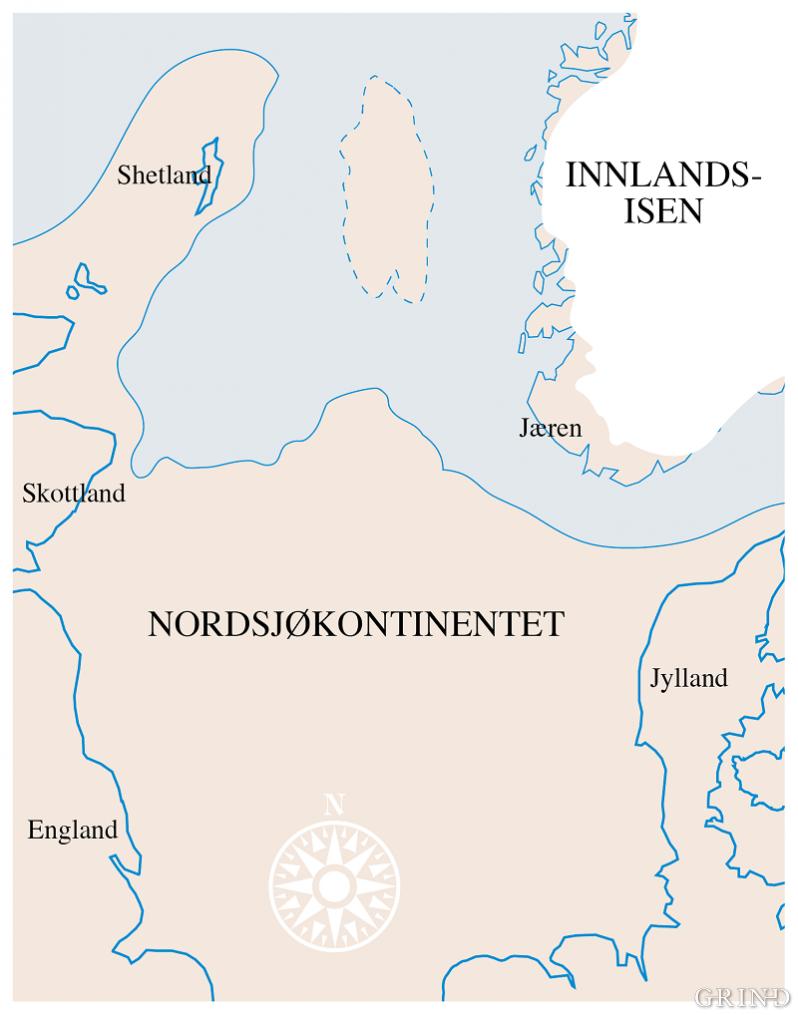 Tilhøvet land-is-hav for vel 10 000 år sidan