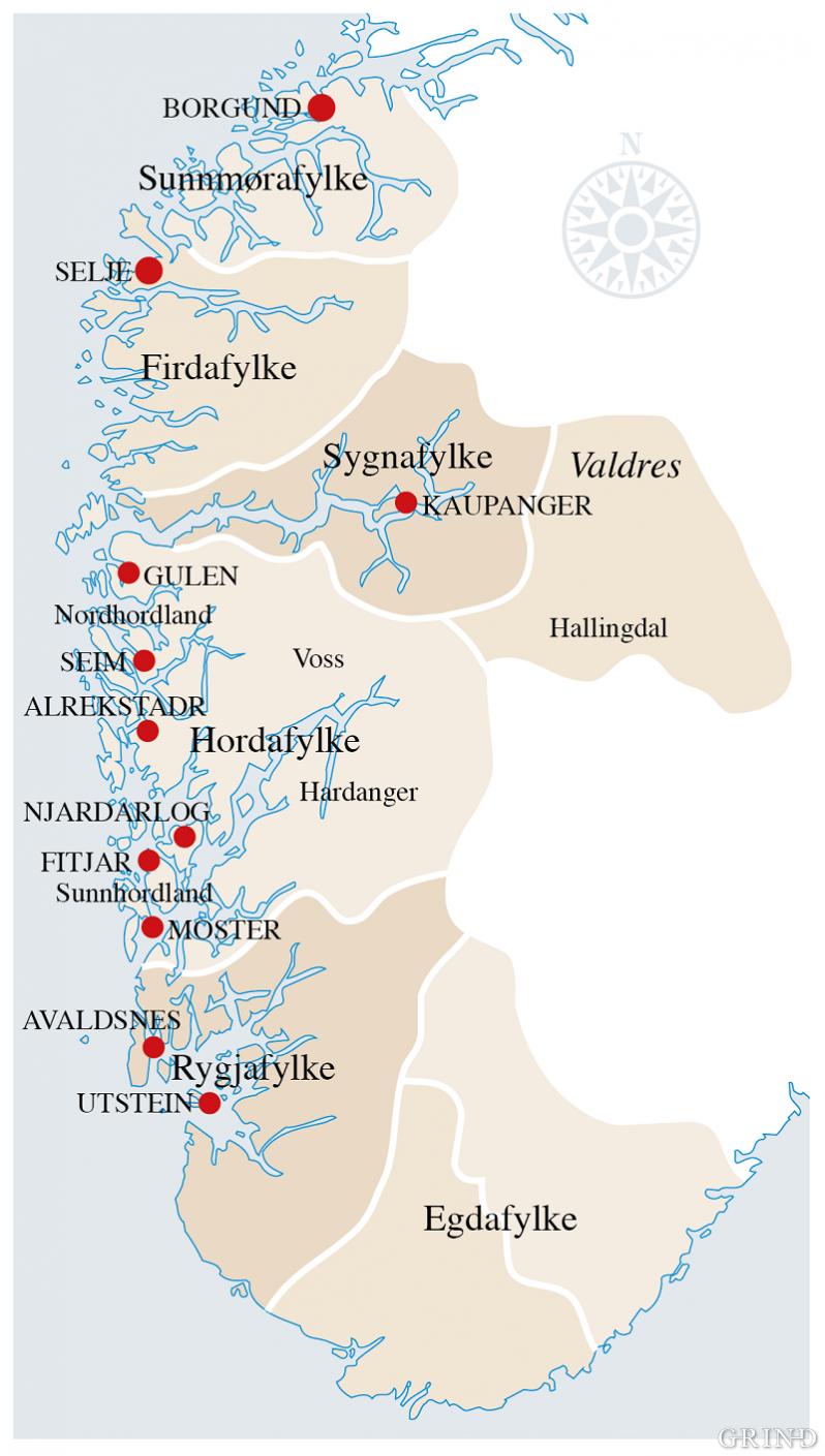 Gulatinget omfatta i høgmellomalderen både Egdafylke, Rygjafylke og Sunnmørafylke, i tillegg til Hordaland, Hardanger, Voss, Sogn og Fjordane