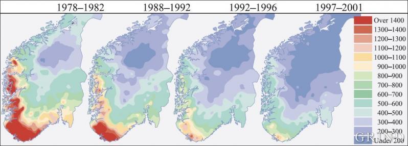 Kart over svovelnedfall over Sør-Norge i fire perioder fra 1978 til 2001