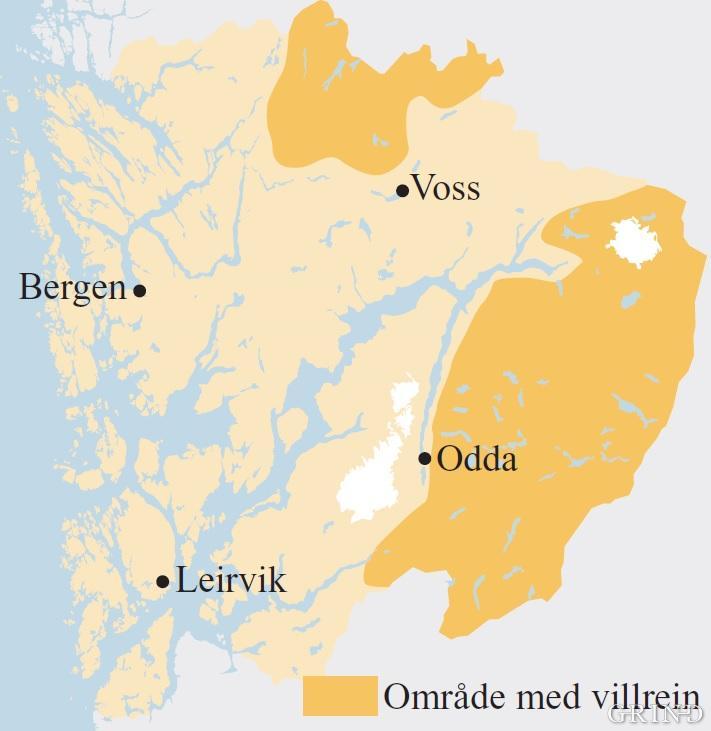 Utbreiinga av villrein i Hordaland ved siste hundreårsskifte