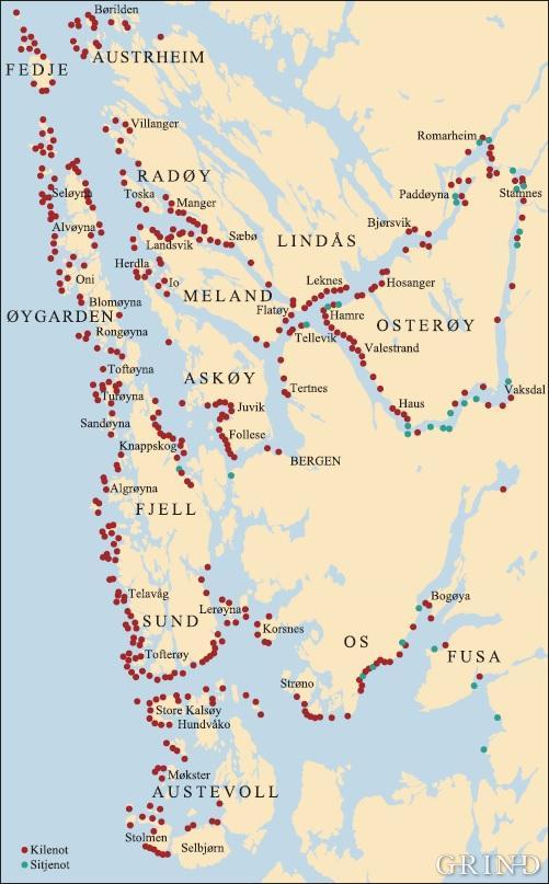 Kilenøter og sitjenøter i den midtre og nordlige delen av Hordaland i 1899