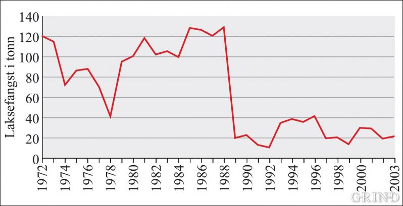 Oversikt over utviklingen i samlet laksefangst for sjø og elv i Hordaland 1972–2003