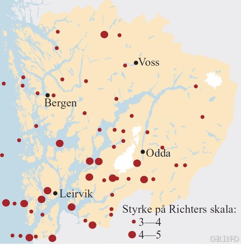 Registrerte jordskjelv i Hordaland i nyere tid. (Kuvvet Atakan/Sverre Mo)
