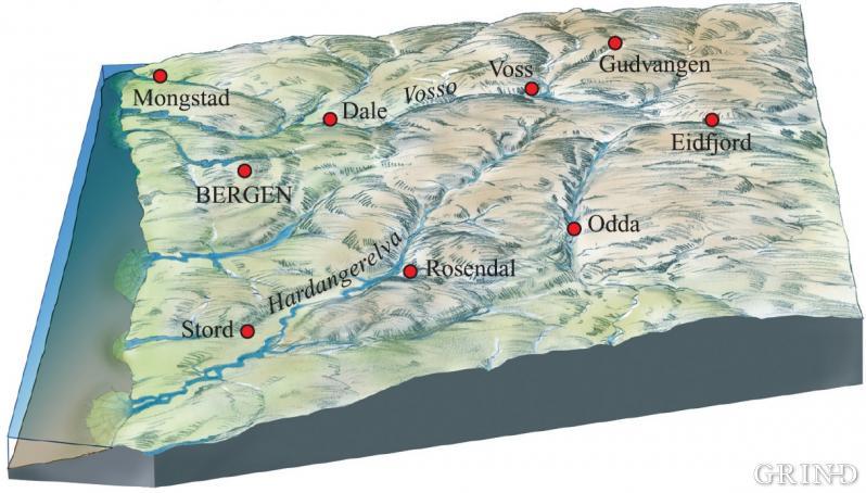 Hordaland før istidene, slik geologen tenkjer seg det