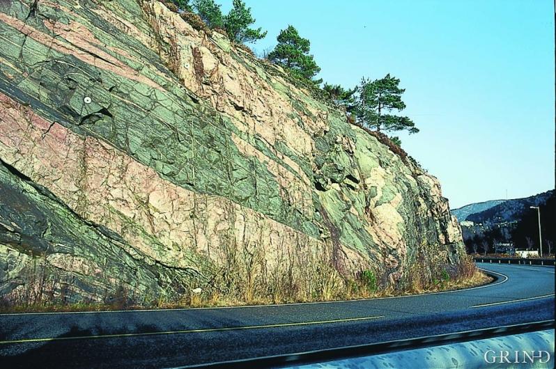 Grunnfjell i Hordaland: rødlige pegmatittganger fra Liaflaten i Bergen