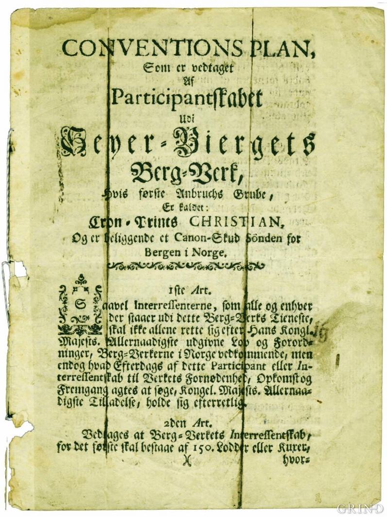 Framsiden på «Conventions Plan» for «Seyer-Biergets Berg-Verk».