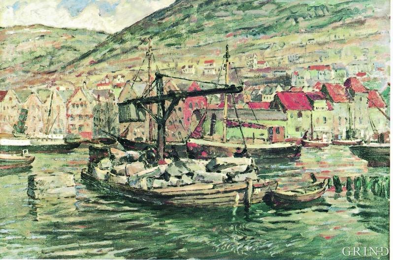 Lekter på Vågen fullastet med stein for kaiutvidelsen på Strandsiden. Oljemaleri av Ragnar Nyberg, 1919.