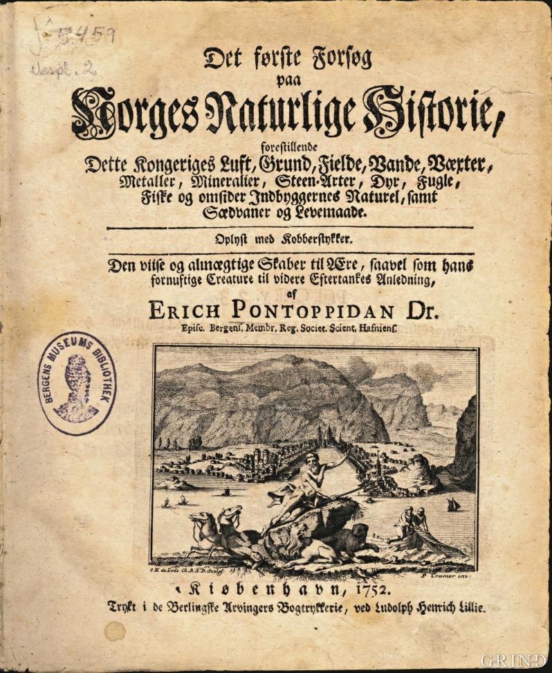 Tittelbladet fra Det første Forsøg paa Norges Naturlige Historie