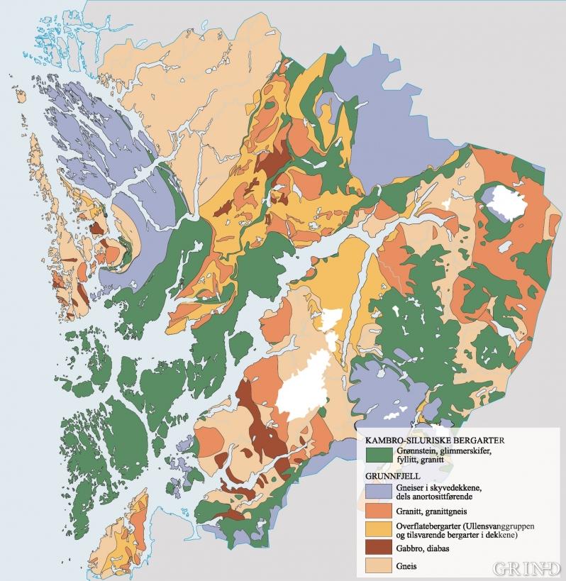 Kart over grunnfjellets bergartsenheter i Hordaland.