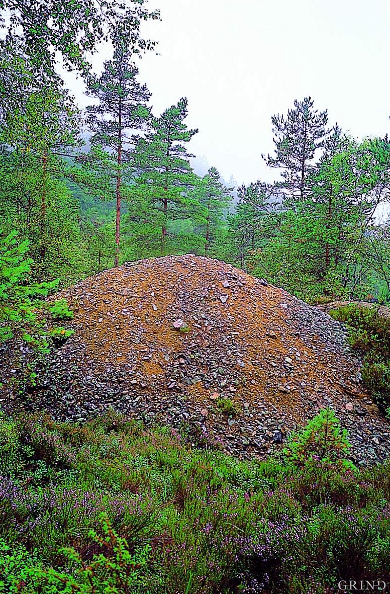 Rustne slagghauger ved Dyråsen grube.